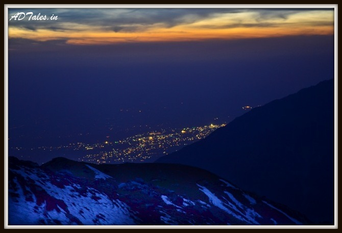 Dharamshala seen from the top at evening